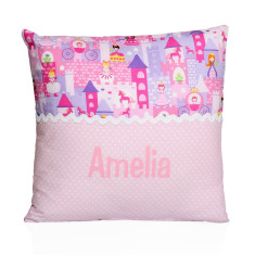 Personalised name cushion in fairytale