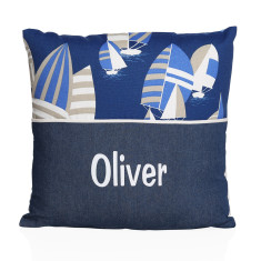 Personalised name cushion in boats