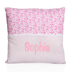 Personalised cushion in hearts