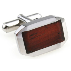 Wood and steel classic beveled cufflinks