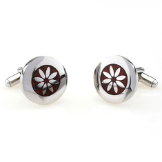 Wood and steel flower cufflinks