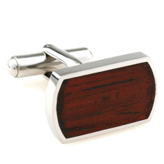 Wood and steel classic cufflinks