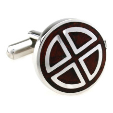 Wood and steel circle segment cufflinks