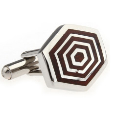 Wood and steel concentric hexagon cufflinks