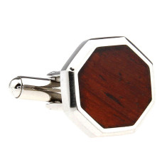 Wood and steel octagonal cufflinks
