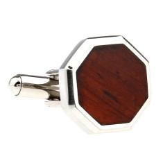 Wood and steel octagonal cufflinks