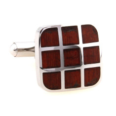 Wood and steel nine square cufflinks