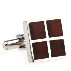 Wood and steel four square cufflinks