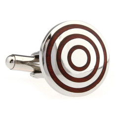 Wood and steel concentric circle cufflinks