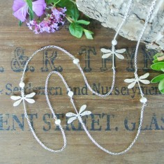 Dulcie silver dragonflies and freshwater pearl necklace