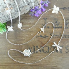 Solana silver charm necklace