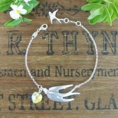 Violetta sterling silver swallow and Swarovski crystal bracelet