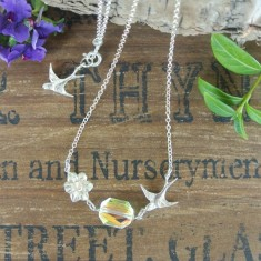 Lucille silver small swallow and Swarovski crystal necklace