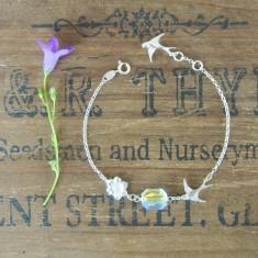 Lola silver small swallow and Swarovski crystal bracelet
