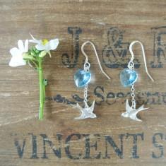 Bebe silver swallow and Swarovski crystal earrings