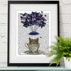 Owl in teacup book print