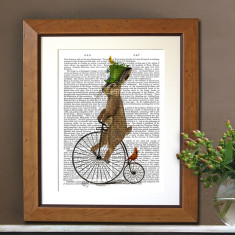 March hare on penny farthing book print