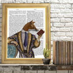 Book reader fox book print