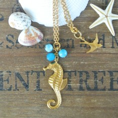 Marla gold seahorse, semi-precious stone and Swarovski necklace