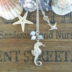 Marla silver seahorse, pearl and Swarovski necklace