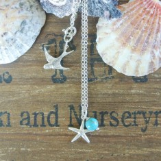 Mia silver starfish and semiprecious stone necklace