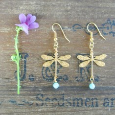 Delphine gold dragonfly and semiprecious earrings