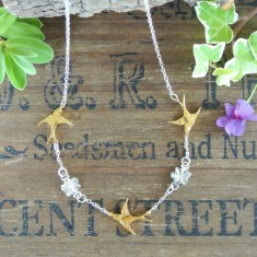 Florence silver and gold swallows and flowers necklace
