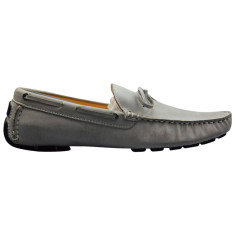 Loafers lace nubuck leather powder grey men's shoe