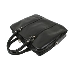 Tiberius black leather briefcase/laptop bag
