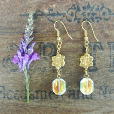 Lydia gold flower and Swarovski crystal earrings