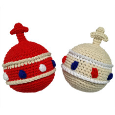 Crochet coronation sovereign orb baby rattle
