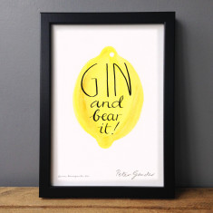 Humorous typographic gin and bear it print (lemon or lime)