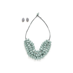 Sliced n diced short triple strand necklace set in grey or black
