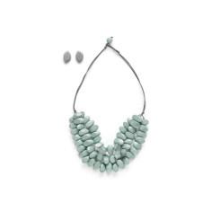 Sliced n diced short triple strand necklace set in grey or black