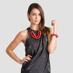 Faceted diamond short double strand necklace set in red or orange