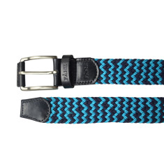 Woven elastic multi blue & black men's belt
