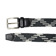 Woven elastic multi grey & white men's belt
