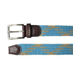 Woven elastic multi sky blue & tan men's belt