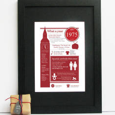 Personalised British 1975 print for 40th birthday