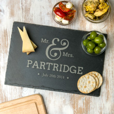 Personalised 'Mr And Mrs' Slate Chopping Board