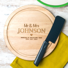 Personalised Mr & Mrs wedding round chopping board