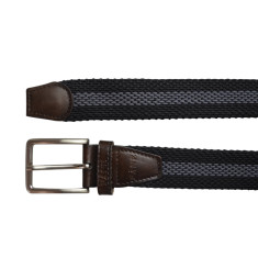 Woven elastic belt in black with gunmetal stripe
