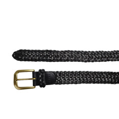 Woven leather black belt