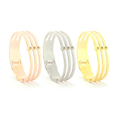 Three bar bangle in gold, silver or rose gold