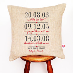 Three dates personalised linen cushion cover