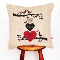 Three hearts personalised linen cushion cover