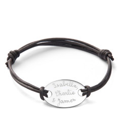 Father's personalised sterling silver oval plate bracelet