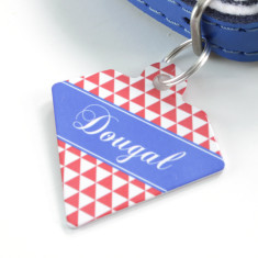 Personalised pet name ID tag diamond triangle