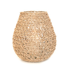 Natural twisted paper hurricane vase/lamp