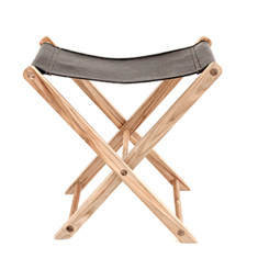 Black leather fold out stool
